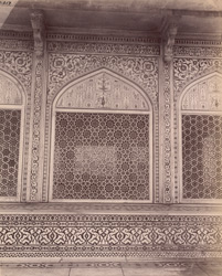 Agra. Itimad-ud-daulah's Tomb. Detail of marble screen enclosing the upper chamber, from the west